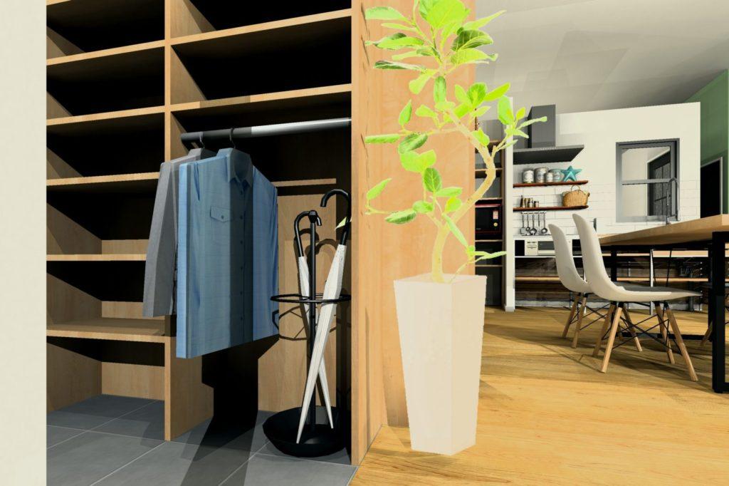 リフォーム会社店舗のリフォームプラン シューズクロークイメージ