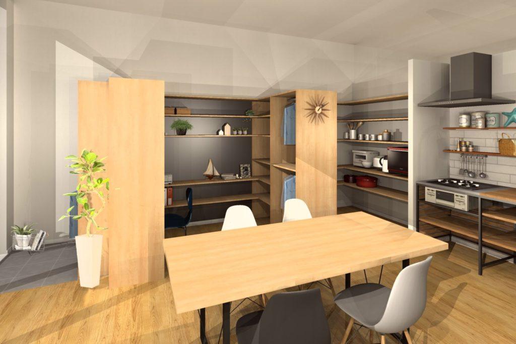 リフォーム会社店舗のリフォームプラン クローゼット・パントリー・キッチン収納イメージプラン