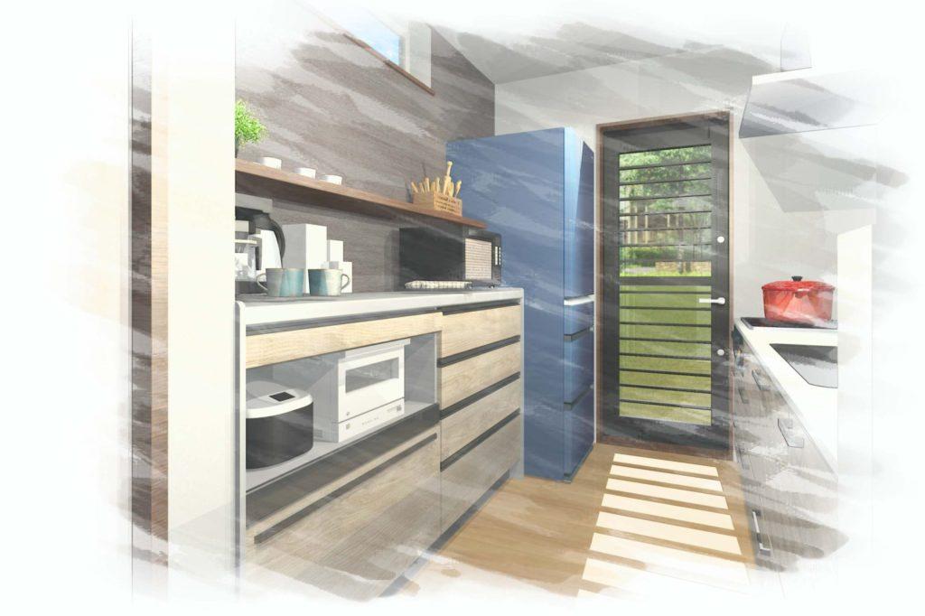 キッチン提案イメージパース色鉛筆仕上げ