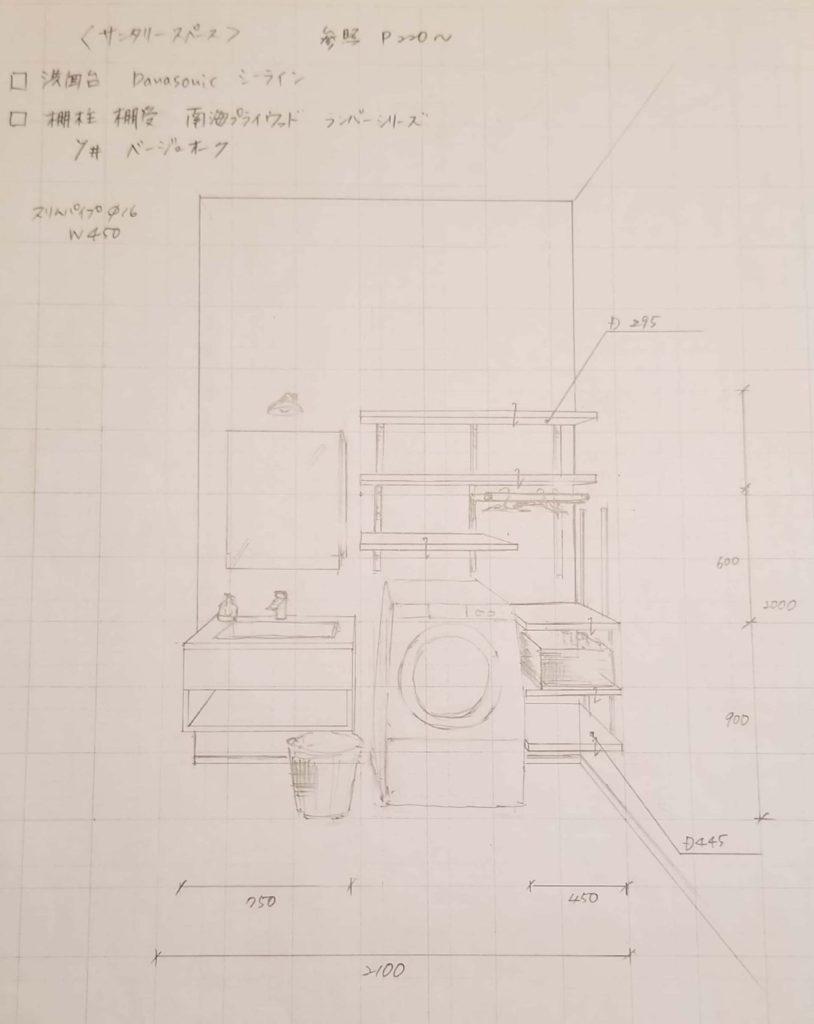 リフォーム会社店舗の改装【収納スペース】サニタリー手書きパース