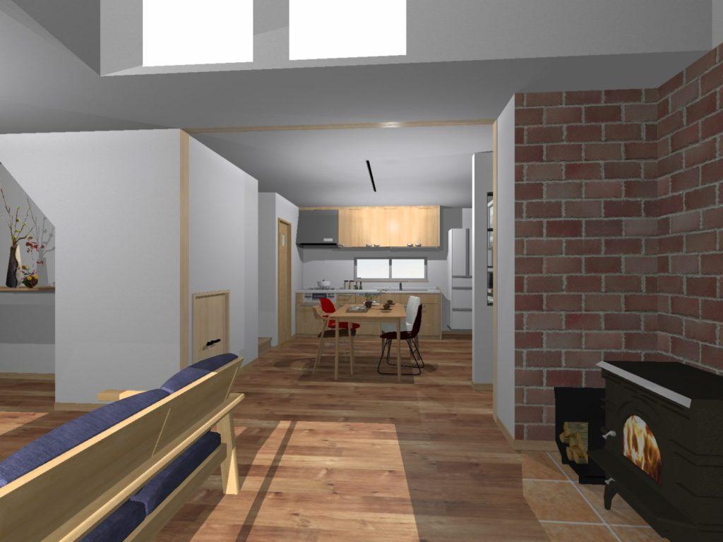 新築 イメージパース 装飾前 リビングからダイニングキッチン