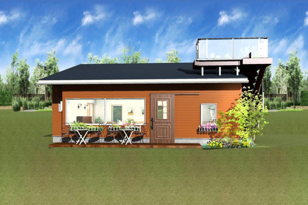 カフェ外観パース図オレンジ壁とネイビー屋根