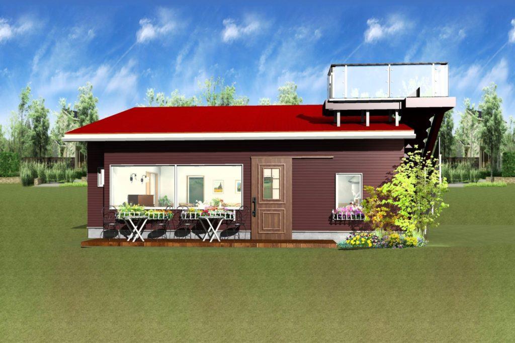 カフェ外観パース図ブラウン壁とレッド屋根