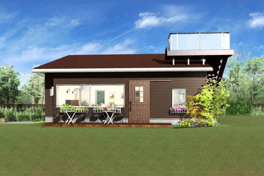 カフェ外観パース図ブラウン壁とブラウン屋根