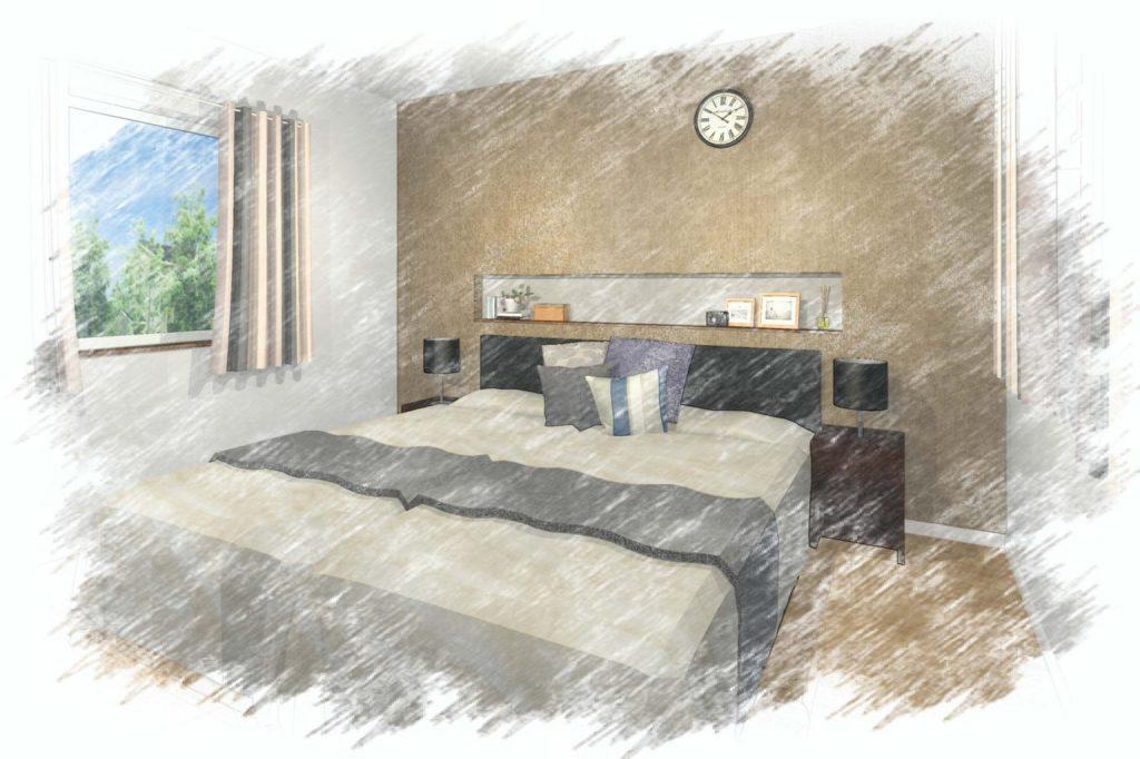 ベッドルーム提案イメージパース色鉛筆仕上げ