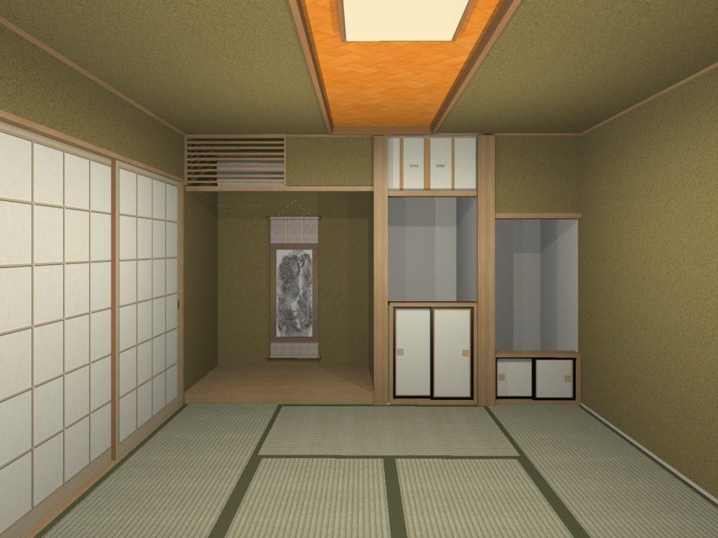 和室天井デザインイメージパース プラン2