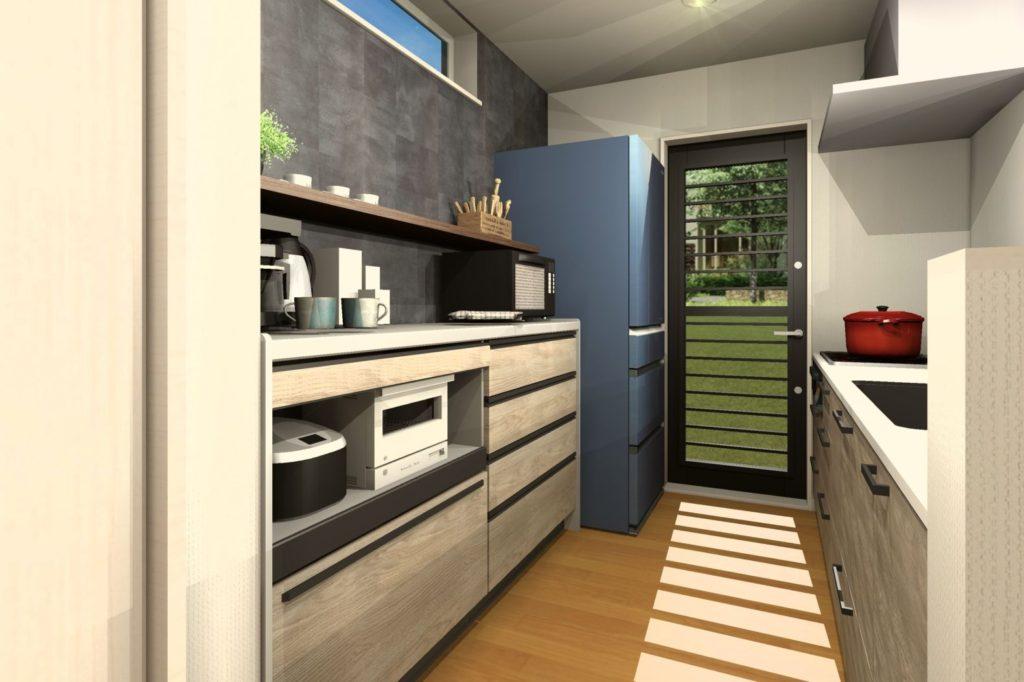 H様邸キッチン提案クロスとキッチン扉カラーイメージパース