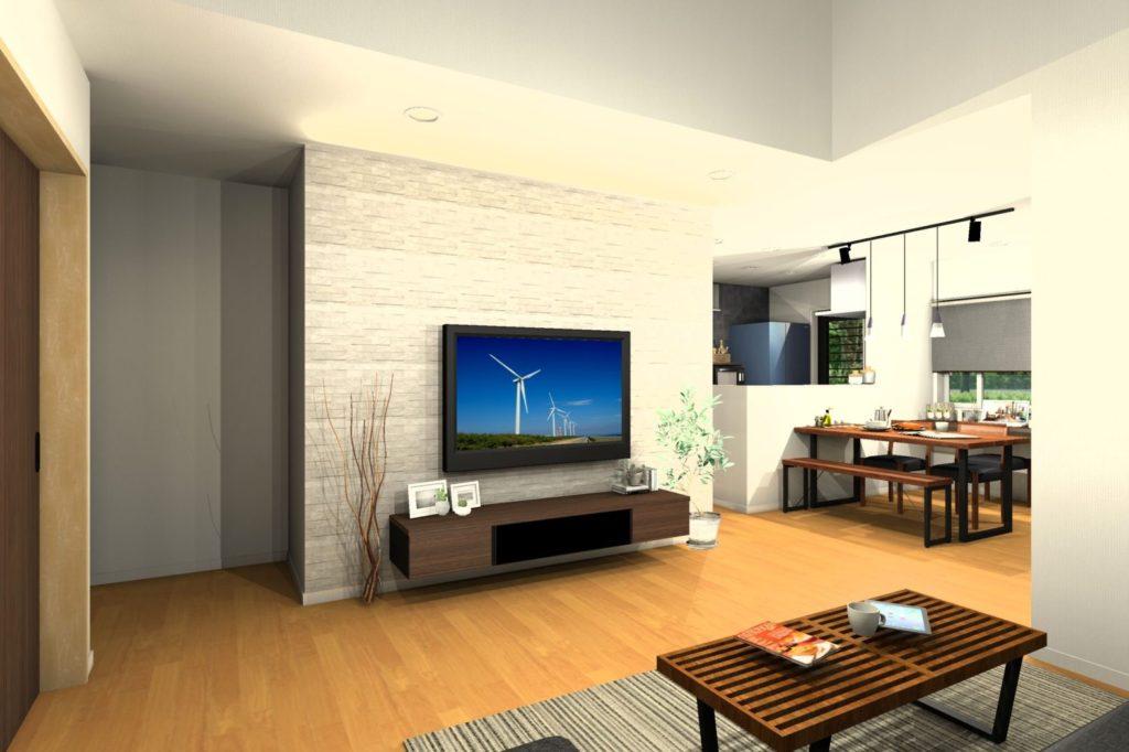 H様邸提案リビング壁面造り付けテレビボードイメージパース①