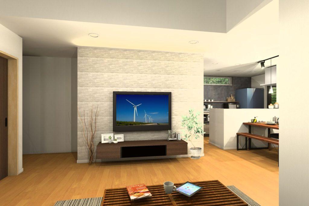 H様邸提案リビング壁面造り付けテレビボードイメージパース