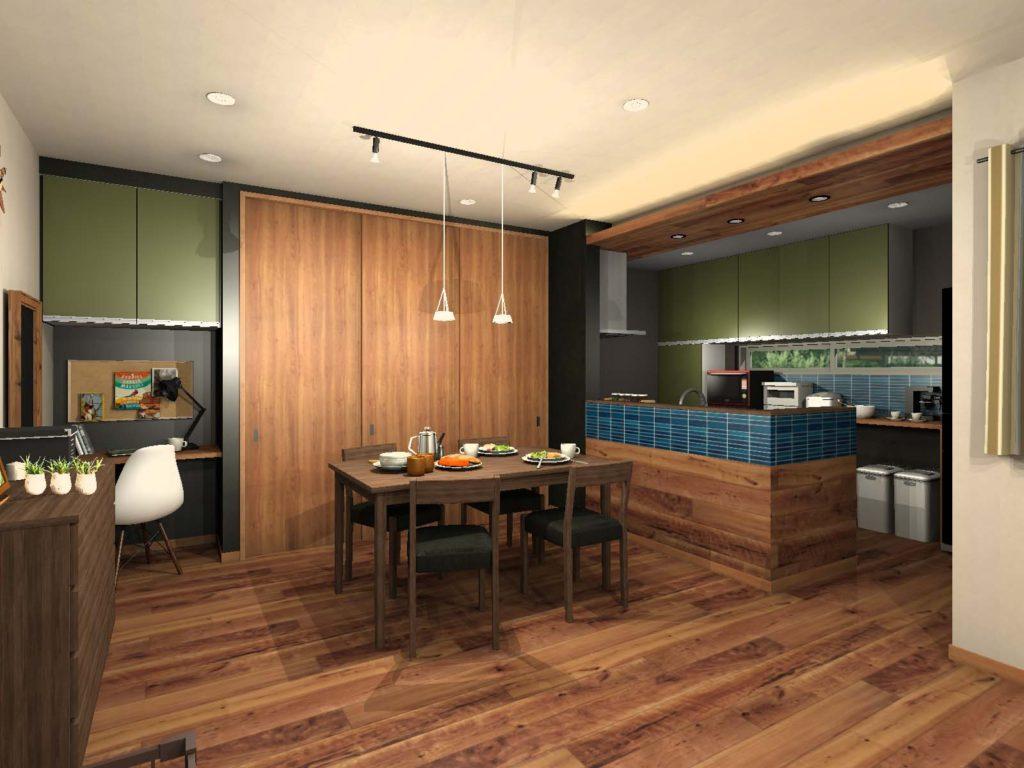 キッチン背面収納カラー提案 グリーン