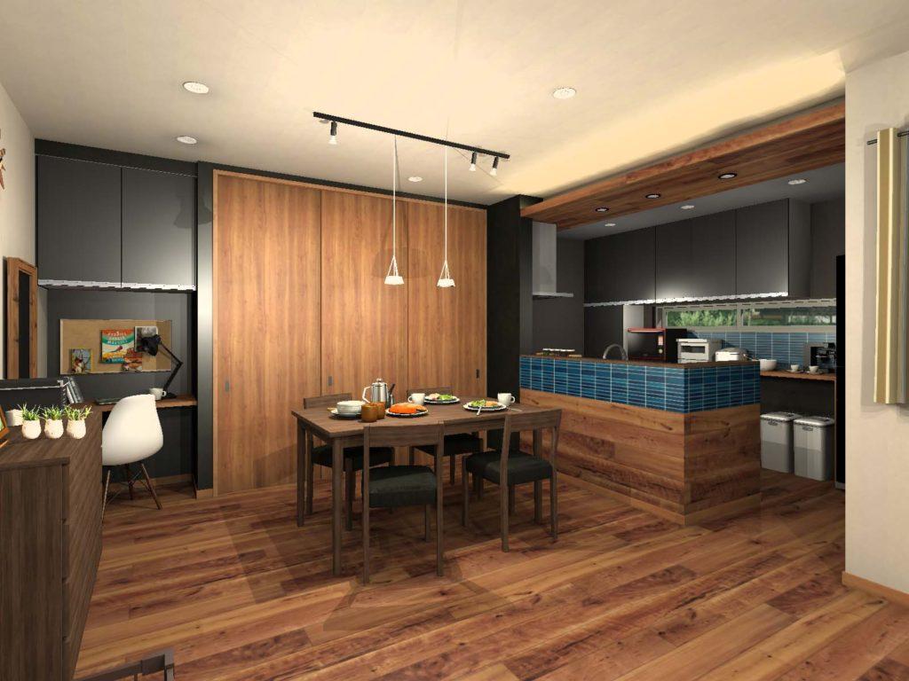 キッチン背面収納カラー提案 濃いグレー
